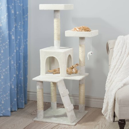 Sleep And Play Cat Tree By Petmaker 4 Ft Tall White
