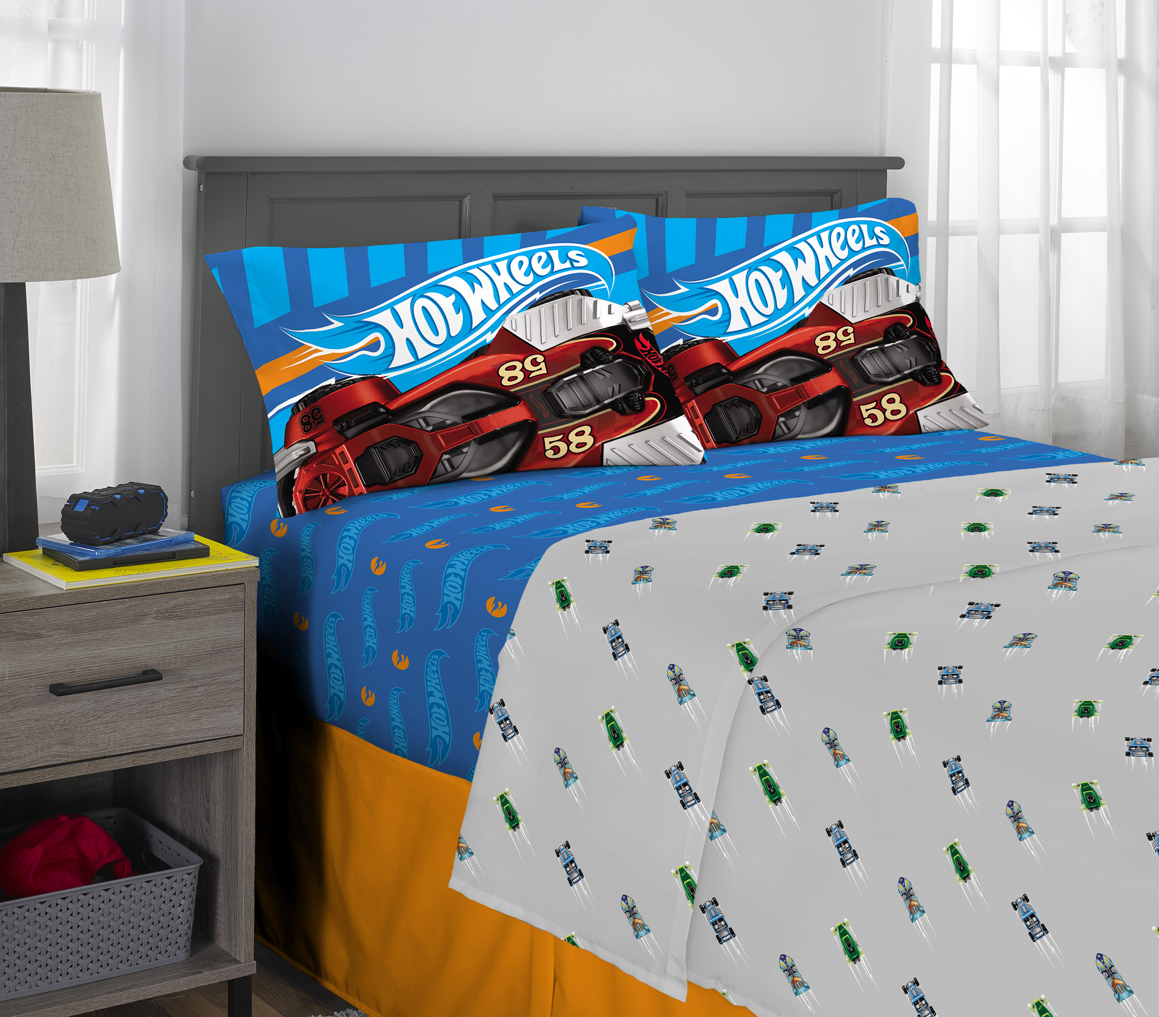 Race Car Full Size 4-Piece Kids Printed Microfiber Bedding Sheet Set 1 Flat Shee