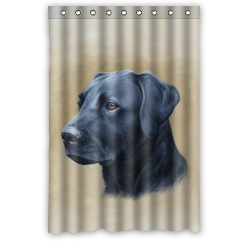 HelloDecor Black Labrador Oil Dog Shower Curtain Polyester Fabric Bathroom  Decorative Curtain Size 48x72 Inches