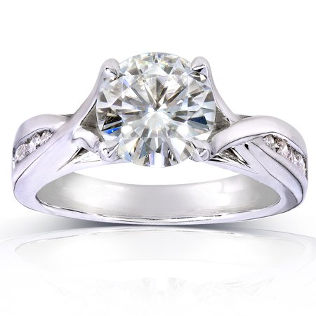 Forever One GHI Moissanite and Diamond Twist Engagement Ring 1 1/5 CTW 14k White Gold