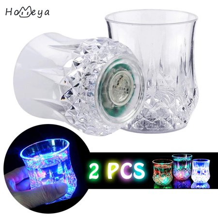 Led Drinkware (Shot Glasses [2 PCS],homeya Automatic Water Activated Colorful Flashing LED Light Up Flash Blinking Beer Wine Whisky Vodka Martini Drinkware Glow Glasses Mugs for Bar Club Christmas Party)