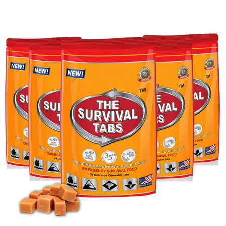 Survival Tabs 10 Day 120 Tabs Emergency Food Survival MREs Meal Replacement for Disaster Preparedness Gluten Free and Non-GMO 25 Years Shelf Life Long Term - Butterscotch