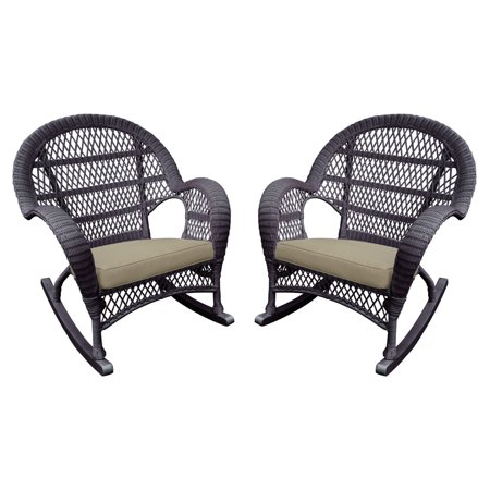 Jeco Santa Maria Wicker Patio Rockers With Optional Cushion Set Of 2