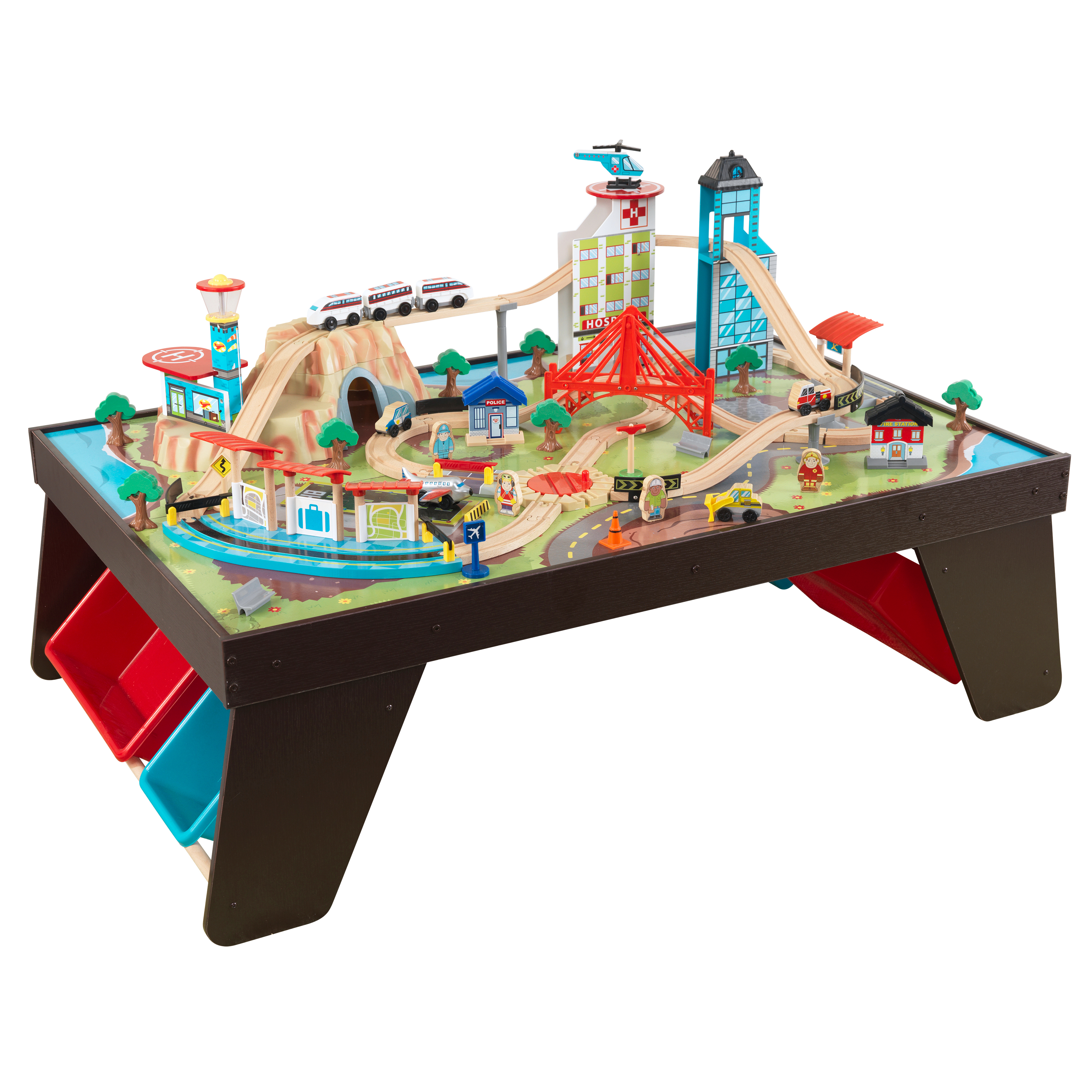 KidKraft Aero City Train Set & Table Espresso with 80+ accessories included by KidKraft, Inc.