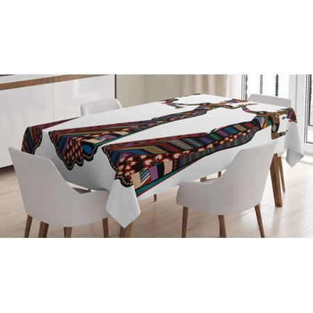 African Woman Tablecloth, Young Women in Stylish Native Costumes Carnival Festival Theme Dance Moves, Rectangular Table Cover for Dining Room Kitchen, 60 X 84 Inches, Multicolor, by Ambesonne