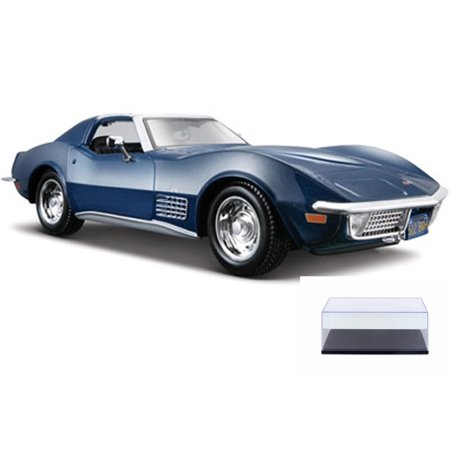 Diecast Car & Display Case Package - 1970 Chevy Corvette T-Top, Blue - Maisto 31202 - 1/24 Scale Diecast Model Toy Car w/Display (1970 Chevy Corvette)