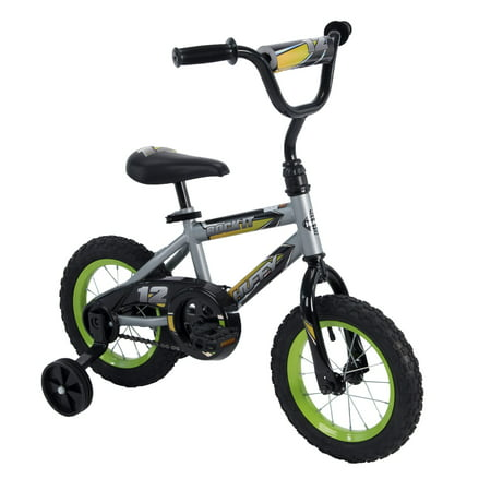 Huffy 12-Inch Rock It Boys Bike, Silver Matte / Lime