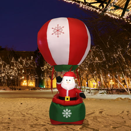 Gymax 6FT Inflatable Santa Claus Hot-air Balloon Lighted Outdoor Indoor Christmas Decor