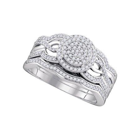 10K White Gold 0 50Ctw Shiny Diamond Swirl Center Round Micro Pave Bridal Ring
