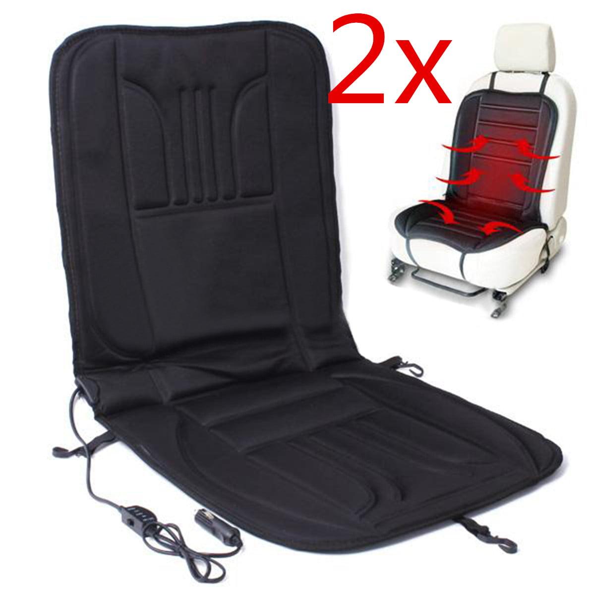 2Pcs Black Car Truck 2Pcs Vehicle Heated Pad Hot Front Seat Cushion Cover Warmer Winter