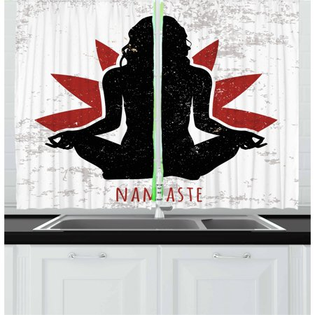 Yoga Curtains 2 Panels Set  Grunge Display Woman In Lotus Pose With The Flower Backdrop Rejuvenation Namaste  Window Drapes For Living Room Bedroom  55W X 39L Inches  Black Red White  By Ambesonne