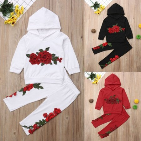 d4471166f Embroidery Toddler Kids Baby Girl Hooded Top Long Pants Outfit Clothes  Tracksuit - Walmart.com