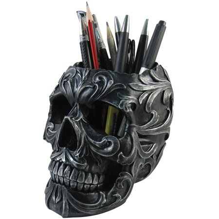 Skull Shaped Pen Pencil Holder Home Office Desk Supplies Organizer Accessory](Wood Pencil Holder)