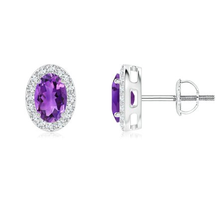 Holiday Sale - Oval Amethyst Studs with Diamond Halo in Platinum (6x4mm Amethyst) - SE0127AMD-PT-AAA-6x4
