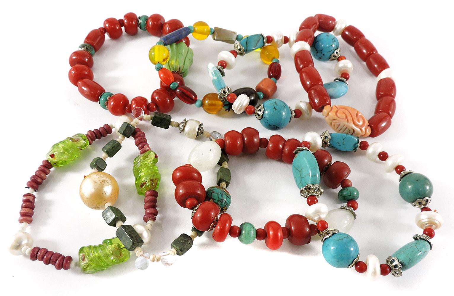 8 Tibetan Bracelets Turquoise Pearl Glass Silver Wholesale by
