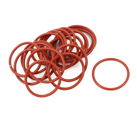 20pcs 1.5mm Thick Heat Oil Resistant Mini O-Ring Rubber Sealing Ring 22mm OD Red - image 1 of 2