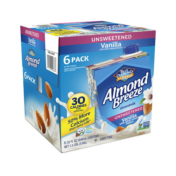(6 pack) Almond Breeze Unsweetened Vanilla Almond Milk, 32 fl oz