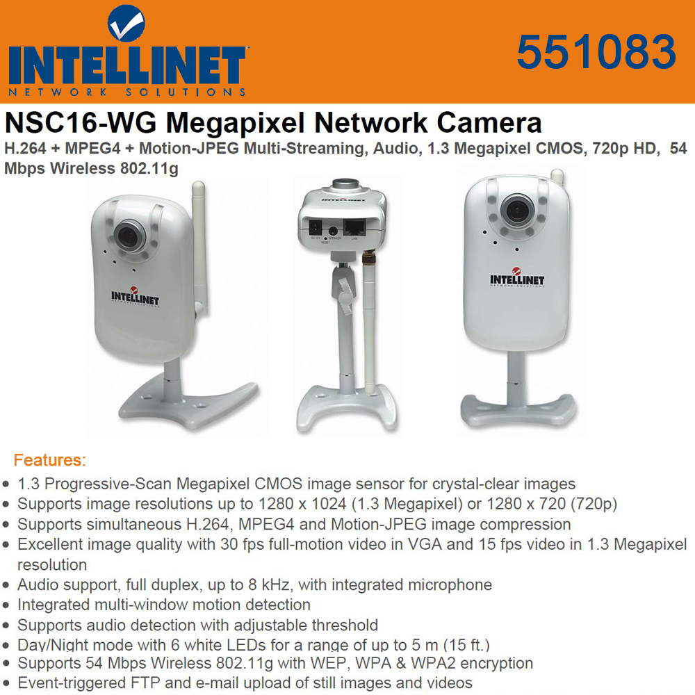 Intellinet (551083) Megapixel HD Network Camera, 720p HD, 54 Mbps Wireless Audio by Intellinet Network Solutions