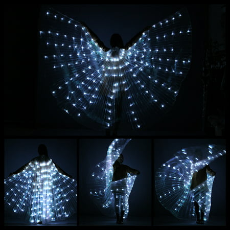 Halloween Costume Stick Figure (Rechargeable LED Isis Wings Belly Dance Club Glow Light Up Costume Sticks)