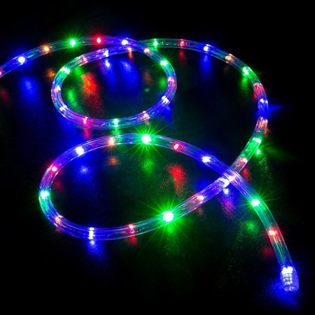 WYZworks 10', 20', 25', 50', 100', 150' ft (10' feet) Multi Colored RGB LED Rope Lights 2 Wire Accent Holiday Christmas Party Decoration Lighting | UL Certified - Multi Colored Leds