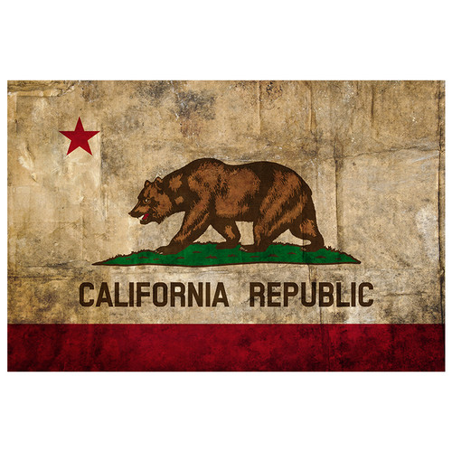 "California State Flag - 18"" x 12"" Distressed Wall Decal"
