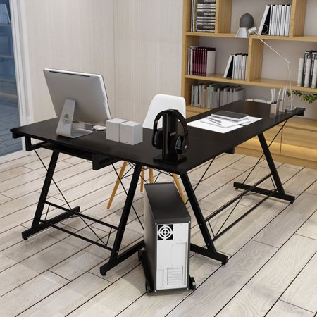 folding l shape corner home office computer desk with pull out keyboard shelf panel cpu storage. Black Bedroom Furniture Sets. Home Design Ideas