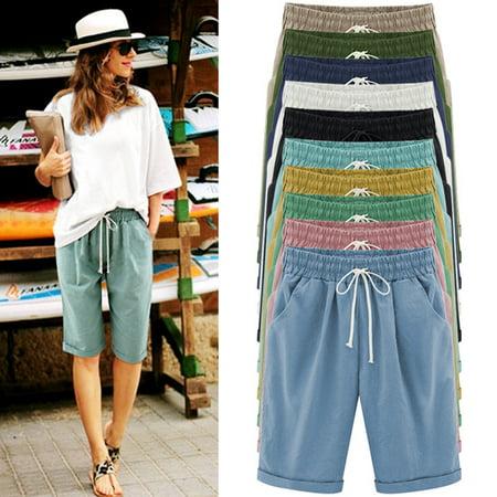 Women's Summer Shorts Lace Up Elastic Waistband Loose Pants Womens Wide Waistband Pants