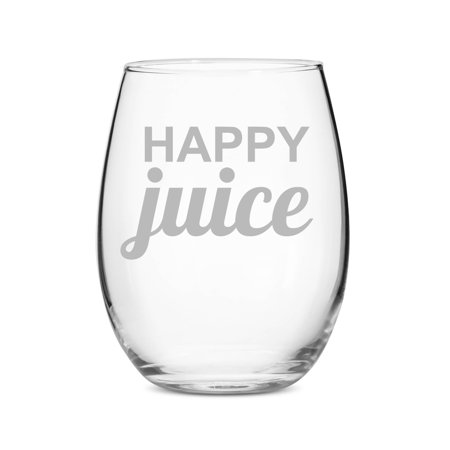Happy Juice Stemless 15 oz Wine Glass ()