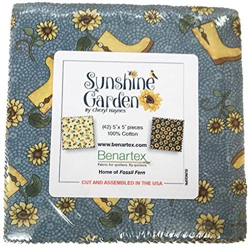"Sunshine Garden Charm Pack, 42 - 5"" Quilt Squares by Benartex"
