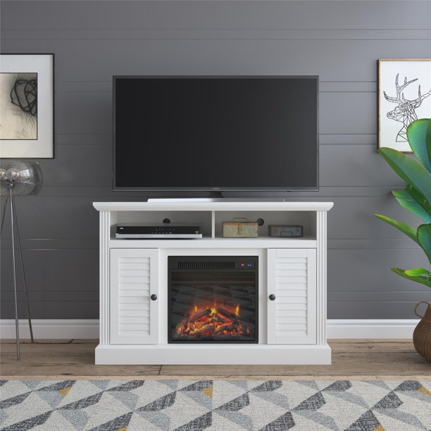 """Ameriwood Home Faith Fireplace TV Stand for TVs up to 48"""", White"""