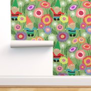 Peel-and-Stick Removable Wallpaper Spring Gnome And Flowers Meadow Gnomes