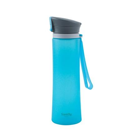 Ammo Lock Bottle (Sport Water Bottle by INNOKA 20 oz 600 ml Sports Bottle w/ Flip Top Lid Leak Proof Auto Open BPA Free FDA Pass Dual Lock Silicone Coated Glass Drinking Bottle For Travel Outdoor Running Yoga Daily Use )