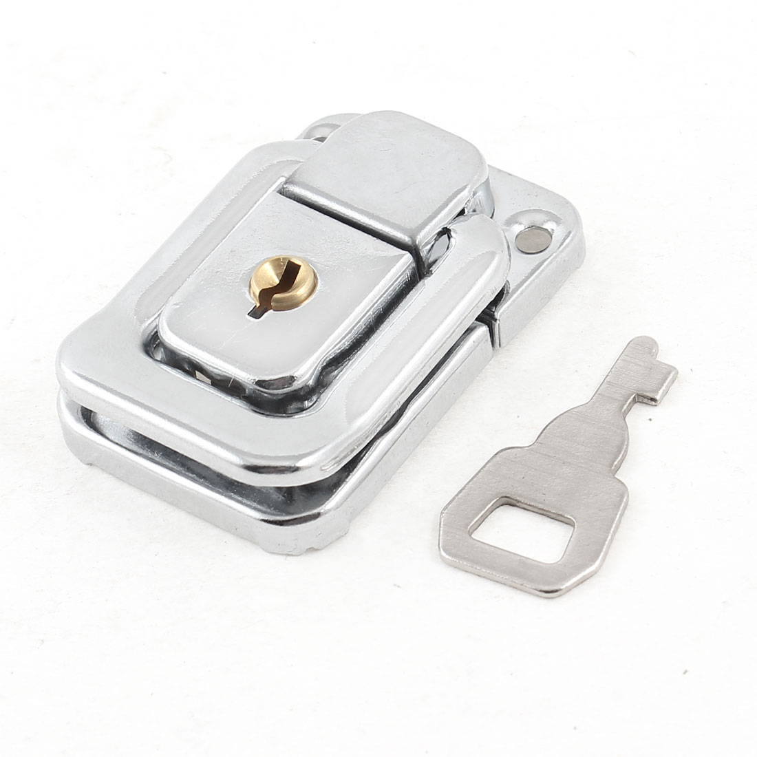 Unique Bargains Replacement Sliver Tone Hasp Latch Lock w Key for Jewelry Box Cabinets