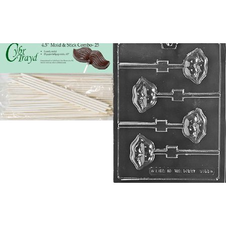 Cybrtrayd 45St25-V164 Luscious Lips Lolly Valentine Chocolate Candy Mold with 25 4.5-Inch Lollipop Sticks