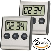 Digital Kitchen Timer, ANKO Cooking Timers Clock, Stainless Steel Shell; Large Digits Display; Loud Alarm; Strong Magnetic Backing Stand (Battery Included) for Kitchen Office Sports Games (2 PACK)