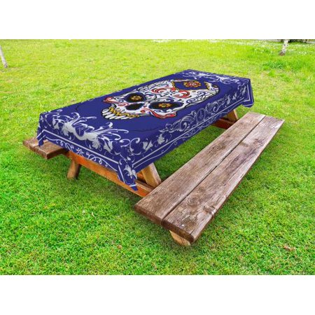 Sugar Skull Outdoor Tablecloth, Scary Floral Skull with Motifs in Ornate Framework Swirls Gothic Vintage Look, Decorative Washable Fabric Picnic Table Cloth, 58 X 84 Inches,Multicolor, by Ambesonne (Scary Sugar Skull)