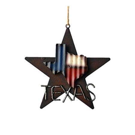 DeLeon Collections Western Rustic Lone Star 3-D Texas Map Christmas Ornament - Metal/Tin - or Tree or Wall Hanging
