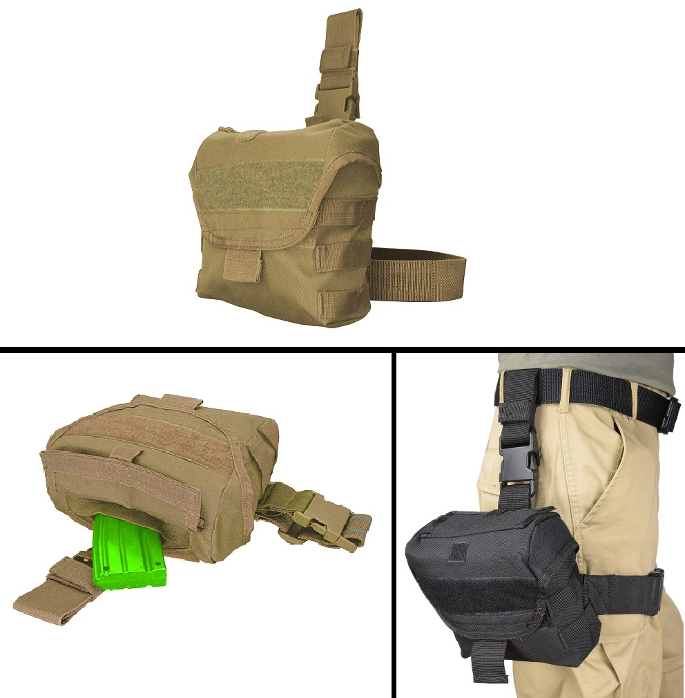 Ultimate Arms Gear FNH FAL Fiyar Scar PS90 FS2000 Rifle Tactical Tan Utility Multi Purpose MOLLE Dump Ammo Ammunition Magazine Stripper Clips Pouch Drop Leg & Belt Adjustments