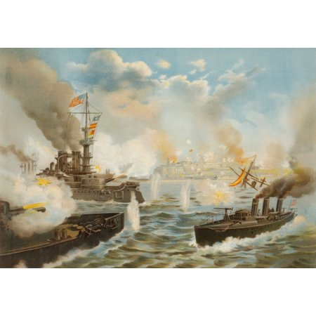 On May 12 1898 During The Spanish-American War US Navy Warships Bombard San Juan Puerto Rico PosterPrint