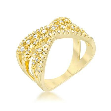 ae2301d2dfa Womens Sandy 0.37 CT Cubic Zirconia 14K Gold Classic Criss Cross Ring -  Size 9 ...