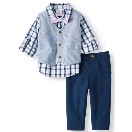 Vest, Rolled Up Sleeve Woven Shirt w/bow tie & Pants, 3pc Outfit Set for $<!---->