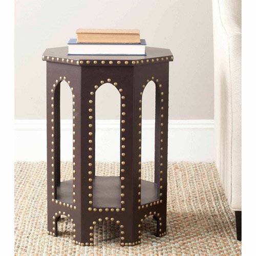 Safavieh Nara Bicast Leather End Table, White Croc