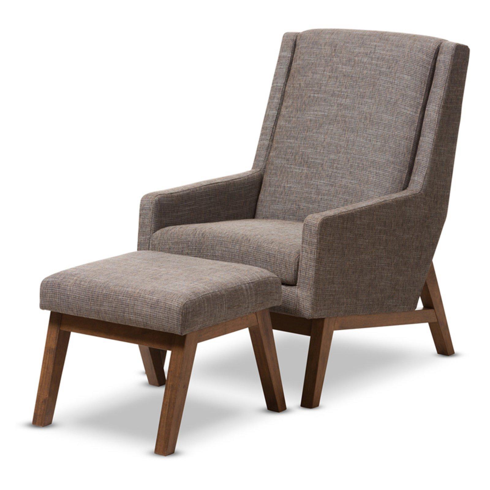 Baxton Studio Aberdeen Mid-Century Modern Walnut Wood Finishing and Gravel Fabric Upholstered Lounge Chair and Ottoman Set