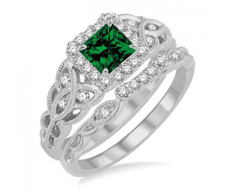 2.50Carat Near White Emerald Cut Diamond Engagement Ring Solid 14k White Gold