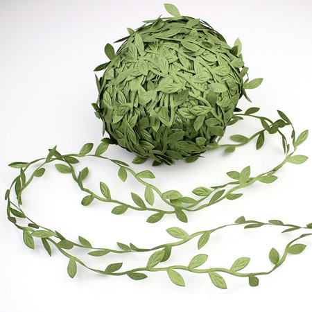 84 Yards Simulation Foliage Leaves Garlands DIY Accessories Artificial Vines Leaves for Wreaths Home Wall Garden Wedding Party Decor Color:Green - Diy Halloween Yard Art