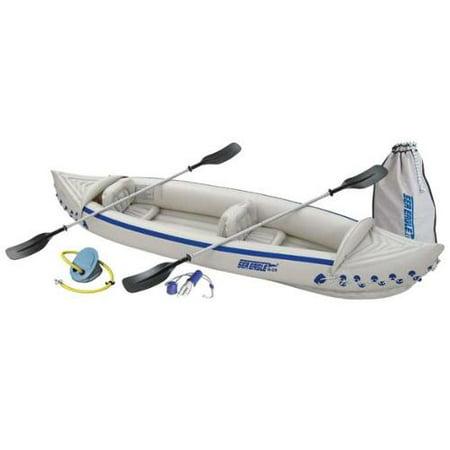 SEA EAGLE 370 Deluxe 3 Person Inflatable Kayak Canoe w/ Paddles & Repair Kit