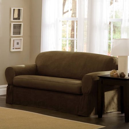 Maytex Piped Faux Suede Non-Stretch 2 Piece Sofa Furniture Cover Slipcover, Chestnut Brown