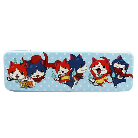 Yokai Watch Light Blue Tin Pencil Box w/Stars