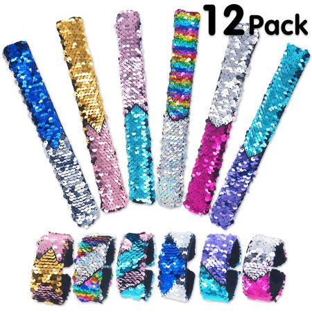Pawliss 12 Pack Little Mermaid Magic Charm Reversible Sequin Slap Bracelets. Birthday Party Favors Supplies Gifts for Girls Kids. Pink Blue Purple (Girls Birthday Party Favors)