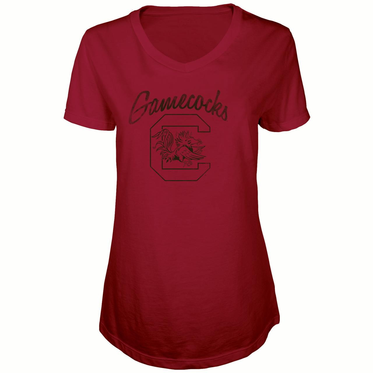 Women's Russell Garnet South Carolina Gamecocks Distressed V-Neck Tunic T-Shirt